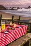 Sunset Picnic on Ocean Overlook Stock Image
