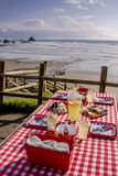 Sunset Picnic on Ocean Overlook Royalty Free Stock Photo