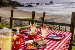 Sunset Picnic on Ocean Overlook Royalty Free Stock Photo