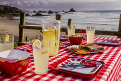 Sunset Picnic on Ocean Overlook Royalty Free Stock Photography
