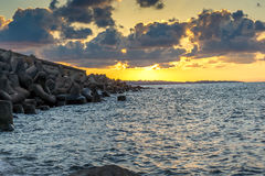 Sunset picture of breakwater of Sozopol Town,  Bulgaria Stock Photography