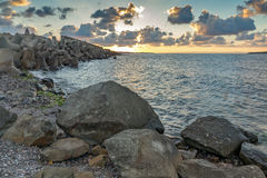 Sunset picture of breakwater of Sozopol Town, Bulgaria Royalty Free Stock Photography