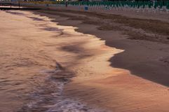 Sunset picture of Lido di Jesolo beach, Adriatic sea, venetian Riviera Stock Photo