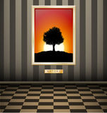 Sunset picture on Striped wall Stock Image
