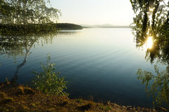 Sunset picturesque  landscape at Irtyash Lake, Southern Urals, Russia Royalty Free Stock Images