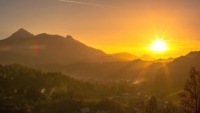 Sunset in the mountains stock footage