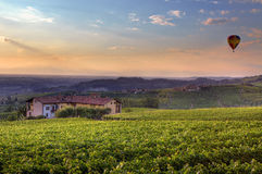 Sunset in Piedmont. Northern Italy. Royalty Free Stock Photo