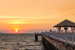 Sunset at pier Stock Image
