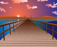 Sunset at the pier. Sunset at the empty pier vector illustration Royalty Free Stock Photos