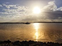 Sunset at Pier In Bay at Hilton Head Island. South Royalty Free Stock Photo