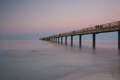 Sunset on the Pier in Binz, Ruegen Island Royalty Free Stock Photography
