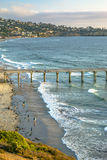 Sunset at the pier in California. The coast of California near the Scripps pier Royalty Free Stock Image