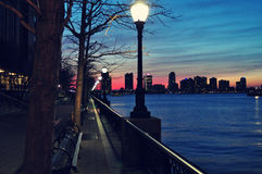 Sunset on a pier at the Hudson River Stock Photography