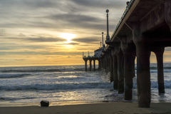 Sunset at the Pier. In Manhattan Beach, California Stock Photography