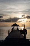 Sunset and Pier in Palau Royalty Free Stock Images