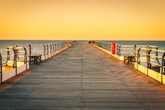 Sunset pier at Saltburn by the Sea, North Yorkshire Royalty Free Stock Images