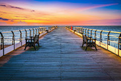Sunset pier at Saltburn by the Sea, North Yorkshire. UK Stock Photo
