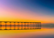 Sunset pier at Saltburn by the Sea, North Yorkshire. UK Stock Image
