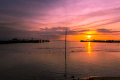 Sunset at the pier. At Samui Island, Thailand Stock Photo