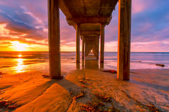 Sunset Pier #7. Scripps Pier in San Diego, California at sunset royalty free stock photography
