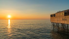 Sunset at the pier. In Aberystwyth, Ceredigion, Dyfed, Wales, UK Stock Images