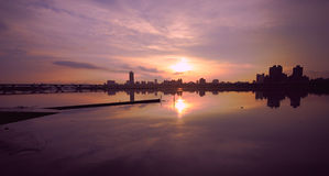 Sunset at pier of Tamsui river Stock Photo