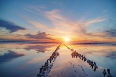 Sunset on a pink salt lake, a former mine for the extraction of pink salt. row of wooden pegs overgrown with salt Royalty Free Stock Photography