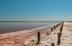 Sunset on a pink salt lake, a former mine for the extraction of pink salt. row of wooden pegs overgrown with salt stock photo