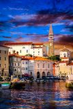 Sunset in Piran Slovinia stock photography