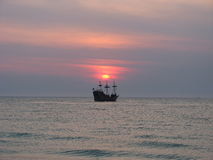 Sunset On Pirate Ship stock image