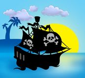 Sunset with pirate ship silhouette Royalty Free Stock Photo