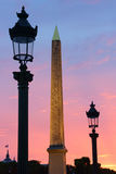 Sunset in Place de la Concorde square, Paris, France Stock Photos