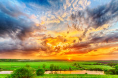 Sunset on the plain Royalty Free Stock Photos