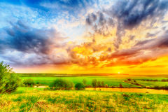 Sunset on the plain Royalty Free Stock Photo
