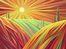 Sunset in the plains. A stylized illustration of landscape in the plains at sunset. Implemented in a stylized art, which is expressed through a specific lines Royalty Free Stock Photo