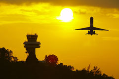 sunset and plane Royalty Free Stock Image