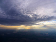 Sunset from a plane. Sunset seen from the window of a plane Royalty Free Stock Photo