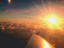 Sunset on plane Royalty Free Stock Photo