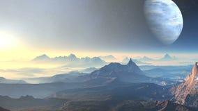 Sunset on planet aliens stock video