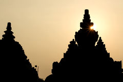 Sunset at Plaosan Temple. In Java island, Indonesia Royalty Free Stock Photos