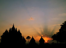 Sunset at Plaosan Temple, Silhouette of Plaosan Temple. Sunset from Plaosan Temple, near Prambanan Temple, Java, Indonesia Royalty Free Stock Image