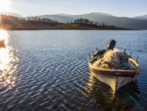 Sunset at Plastiras lake in central Greece Stock Photography