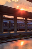 Sunset at the platform of a train station Stock Photography