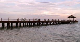 Sunset on Playa Carmen Pier Stock Photography