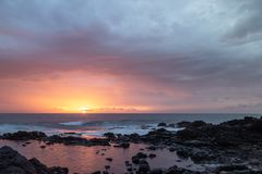 Sunset at playa de cotillo, Fuerteventura, Canary Islands royalty free stock images
