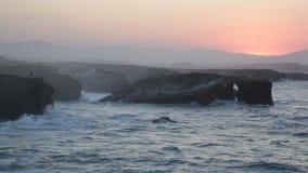 Sunset on Playa de las Catedrales, Spain Royalty Free Stock Image
