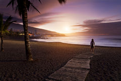 Sunset in Playa Jardin, Puerto de la Cruz Royalty Free Stock Images