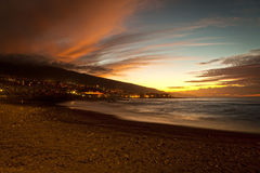 Sunset in Playa Jardin, Puerto de la Cruz Royalty Free Stock Photo