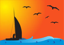 sunset połowowych łodzi Royalty Ilustracja