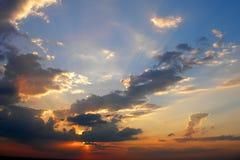 sunset pochmurno Fotografia Royalty Free